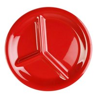 10 1/4 inch Pure Red 3-Compartment Melamine Plate - 12/Pack