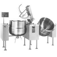 Cleveland TMKDL-125-T 125 Gallon Tilting 2/3 Steam Jacketed Direct Steam Twin Mixer Kettle
