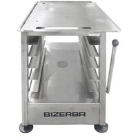 Bizerba Slicer Table 275 27 1/4 inch x 32 1/4 inch 14-Gauge Stainless Steel Mobile Slicer Stand with 5 Sheet Pan Rack, Brake Handle, and Drain