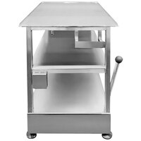 Bizerba Slicer Table 1 24 inch x 26 inch 14-Gauge Stainless Steel Mobile Equipment Stand with Fixed Undershelf, Retractable Casters, and Brake Handle