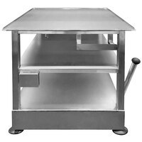 Bizerba Slicer Table 2 24 inch x 26 inch 14-Gauge Stainless Steel Mobile Equipment Stand with Fixed Undershelf, Removable Mid Shelf, and Parking Brake Handle