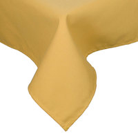 64 inch x 120 inch Yellow Hemmed Polyspun Cloth Table Cover