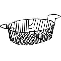 Acopa Oblong Black Wire Basket with Ramekin Holders - 11 inch x 8 inch x 3 1/4 inch