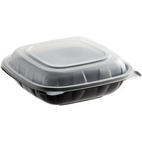 Choice 8 inch x 8 inch x 3 inch Microwaveable 1-Compartment Black / Clear Plastic Hinged Container - 100/Case