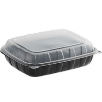 Choice 11 inch x 8 1/2 inch x 3 inch Microwaveable 1-Compartment Black / Clear Plastic Hinged Container - 100/Case