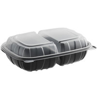Choice 9 inch x 6 inch x 3 inch Microwaveable 2-Compartment Black / Clear Plastic Hinged Container - 100/Case