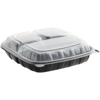 Choice 10 inch x 10 inch x 3 inch Microwaveable 3-Compartment Black / Clear Plastic Hinged Container - 100/Case