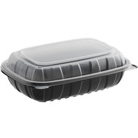 Choice 9 inch x 6 inch x 3 inch Microwaveable 1-Compartment Black / Clear Plastic Hinged Container - 100/Case