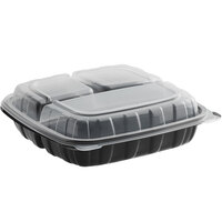 Choice 9 inch x 9 inch x 3 inch Microwaveable 3-Compartment Black / Clear Plastic Hinged Container - 100/Case