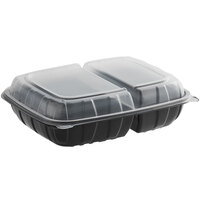 Choice 11 inch x 8 1/2 inch x 3 inch Microwaveable 2-Compartment Black / Clear Plastic Hinged Container - 100/Case