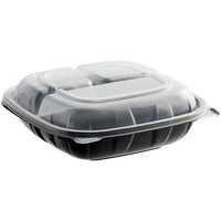 Choice 8 inch x 8 inch x 3 inch Microwaveable 3-Compartment Black / Clear Plastic Hinged Container - 100/Case
