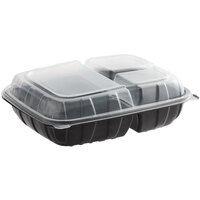 Choice 11 inch x 8 1/2 inch x 3 inch Microwaveable 3-Compartment Black / Clear Plastic Hinged Container - 100/Case
