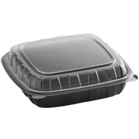 Choice 9 inch x 9 inch x 3 inch Microwavable 1-Compartment Black / Clear Plastic Hinged Container - 100/Case