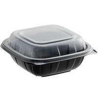 Choice 6 inch x 6 inch x 3 inch Microwaveable 1-Compartment Black / Clear Plastic Hinged Container - 200/Case