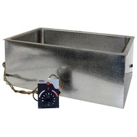 APW Wyott BM-80D UL Listed Bottom Mount 12 inch x 20 inch Insulated Hot Food Well with Drain and Square Corners - 120V, 750W