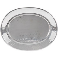 American Metalcraft HMOST1115 15 inch Oval Hammered Stainless Steel Serving Tray