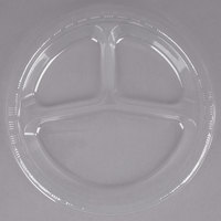 Creative Converting 019418 10 inch 3 Compartment Clear Plastic Plate - 200/Case