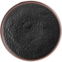 Acopa Heika 7 11/16 inch Black Matte Textured Coupe Stoneware Plate - 12/Case