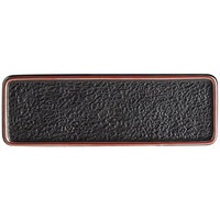 Acopa Heika 13 3/16 inch x 4 1/2 inch Black Matte Textured Rectangular Flat Stoneware Plate - 12/Case