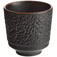 Acopa Heika 5 oz. Black Matte Textured Stoneware Tea Cup - 12/Case
