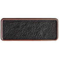 Acopa Heika 11 7/16 inch x 4 1/2 inch Black Matte Textured Rectangular Flat Stoneware Plate - 12/Case