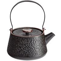 Acopa Heika 24 oz. Black Matte Textured Stoneware Teapot with Lid