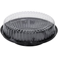 D&W Fine Pack J45 10 inch Black Pie Take Out Container with Clear High Dome Lid - 100 / Case