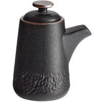 Acopa Heika 3.7 oz. Black Matte Textured Stoneware Soy Sauce Pourer - 12/Case