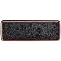 Acopa Heika 12 3/8 inch x 4 1/2 inch Black Matte Textured Rectangular Flat Stoneware Plate - 12/Case