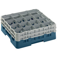 Cambro 16S534414 Camrack 6 1/8 inch High Customizable Teal 16 Compartment Glass Rack