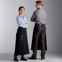 Choice Black Poly-Cotton Bistro Apron with 1 Pocket - 34 inchL x 30 inchW