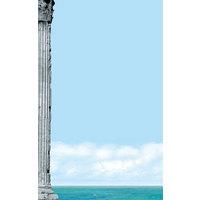 8 1/2 inch x 14 inch Menu Paper Left Insert - Mediterranean Themed Parthenon Design - 100/Pack