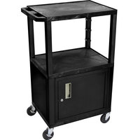 Luxor / H. Wilson WT2642C2E Black Tuffy Two Shelf Adjustable Height A/V Cart with Locking Cabinet - 18 inch x 24 inch