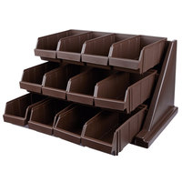 Cambro 12RS12131 Versa Dark Brown Self Serve 3-Tier Condiment Stand with 12 inch Bins