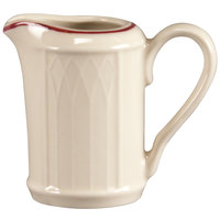 Homer Laughlin 1492-0039 Gothic Maroon Jade 3.25 oz. Off White Creamer - 36/Case