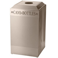 Rubbermaid FGDCR24CDP Silhouettes Desert Pearl Recycling Receptacle for Cans / Bottles - 29 Gallon