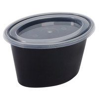 Newspring E503-B ELLIPSO 3 oz. Black Oval Souffle / Portion Cup with Clear Lid - 500 / Case