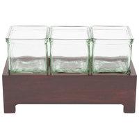 Cal-Mil 1549-4-52 Westport Three Jar Wooden Display - 12 1/2 inch x 4 3/4 inch x 4 inch