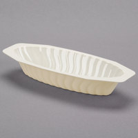 Fineline Flairware 215-BO 15 oz. Bone / Ivory Plastic Oval Bowl / Serving Boat - 300/Case