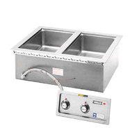 Wells MOD200DM Insulated Two Compartment Drop-In Hot Food Well with Infinite Controls and Drain Manifolds - 208/240V