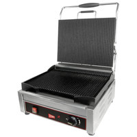 Cecilware SG1LG-240 Single Plus Panini Sandwich Grill with Grooved Grill Surfaces - 14 1/8 inch x 11 inch Cooking Surface - 240V, 2400W