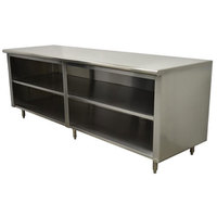Advance Tabco EB-SS-308M 30 inch x 96 inch 14 Gauge Open Front Cabinet Base Work Table with Fixed Mid Shelf