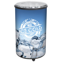 IRP Ice Hawk 5005 Insulated Portable Round Barrel Beverage Cooler / Merchandiser with Lid and Casters 70 Qt. - Black