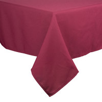 54 inch x 54 inch Square Burgundy 100% Polyester Hemmed Cloth Table Cover