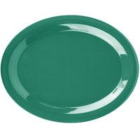 Carlisle 3308009 Sierrus 13 1/2 inch x 10 1/2 inch Meadow Green Oval Melamine Platter - 12/Case