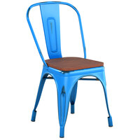 Lancaster Table & Seating Alloy Series Distressed Blue Metal Indoor Industrial Cafe Chair with Vertical Slat Back and Walnut Wood Seat