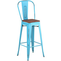 Lancaster Table & Seating Alloy Series Distressed Arctic Blue Metal Indoor Industrial Cafe Bar Height Stool with Vertical Slat Back and Walnut Wood Seat