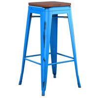 Lancaster Table & Seating Alloy Series Distressed Blue Stackable Metal Indoor Industrial Barstool with Walnut Wood Seat