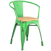 Lancaster Table & Seating Alloy Series Distressed Green Metal Indoor Industrial Cafe Arm Chair with Vertical Slat Back and Natural Wood Seat