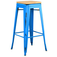 Lancaster Table & Seating Alloy Series Distressed Blue Stackable Metal Indoor Industrial Barstool with Natural Wood Seat